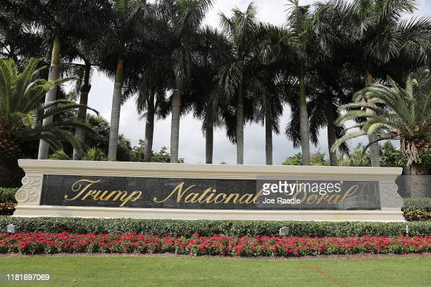 A sign is seen near the front entrance to the Trump National Doral golf resort owned by US President Donald Trump's company on October 17 2019 in...