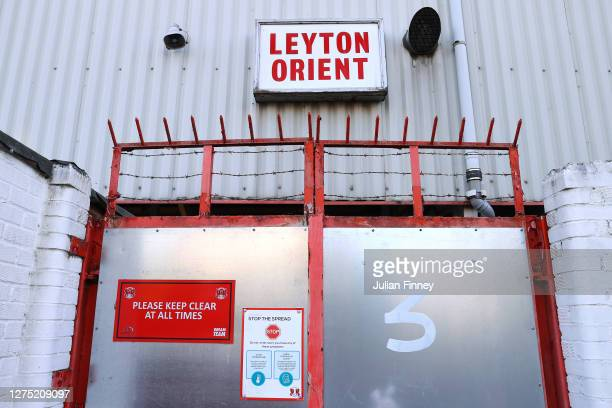 Sign is seen on a door to the stadium as the the Carabao Cup Third Round match between Leyton Orient and Tottenham Hotspur is postponed due to...