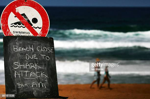 A sign is seen on the closed Avalon Beach after a shark attack on a surfer on March 1 2009 in Sydney Australia The shark attack was the third in as...