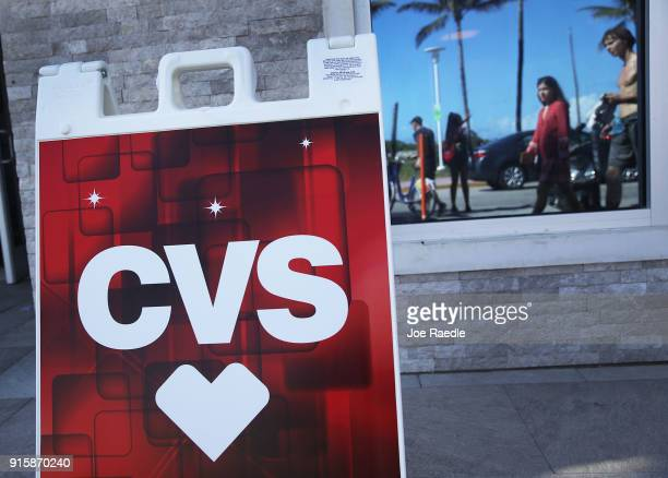 A sign is seen on the outside of a CVS store on the day CVS Health Corp announced that it beat Wall Street forecasts in its fourthquarter with...