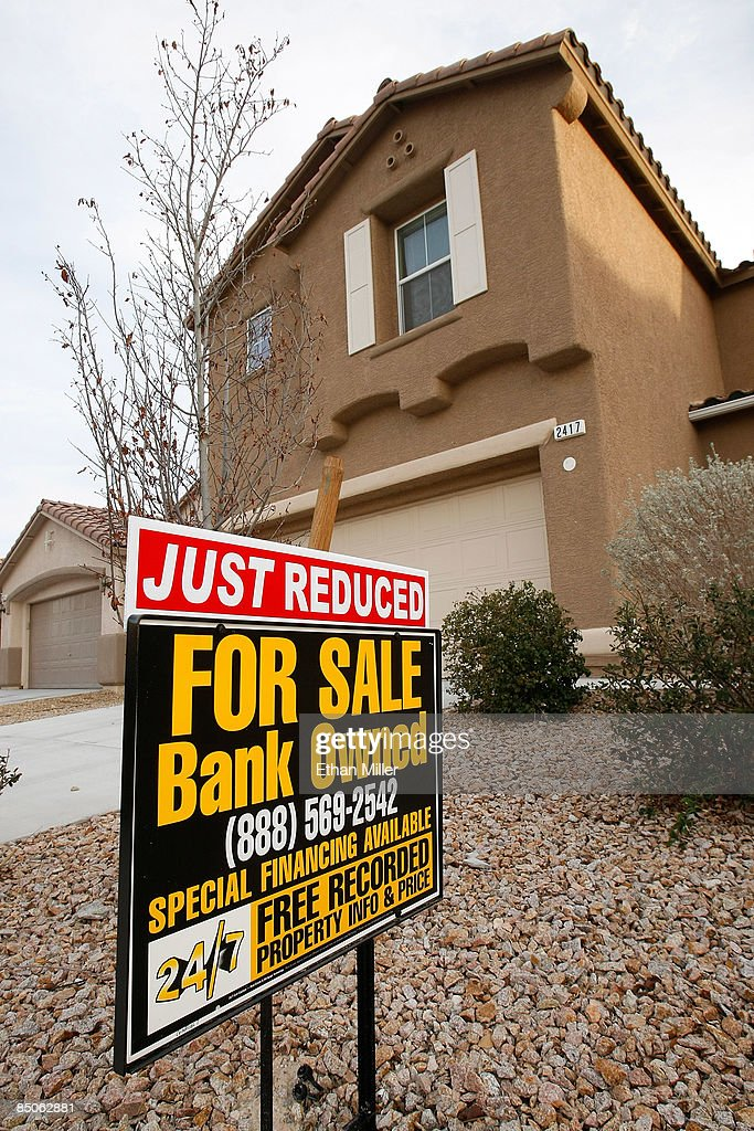A sign is seen outside a foreclosed home February 24, 2009 in North Las Vegas, Nevada. Home prices in Las Vegas fell by 33 percent compared to the same period last year according to the Standard & Poors/Case-Shiller index for the fourth quarter of 2008. Las Vegas' slide was the second worst of the 20 cities tracked by the index, which also shows that national home prices dropped 18.2 percent in the fourth quarter, the largest slide in the index's 21-year history. In addition, the Federal Housing Finance Agency on Tuesday reported an 8.2 percent drop in home prices from a year earlier, its largest annual decline recorded since 1991.