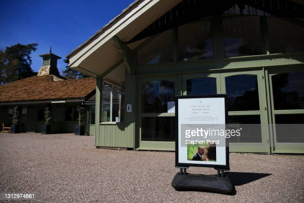 Sign is seen paying tribute to The Duke Of Edinburgh at Sandringham House on the Sandringham Estate on April 17, 2021 in Sandringham, Norfolk. The...