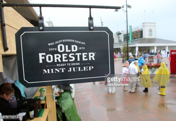 Sign is show for the famous Mint Julip prior to running of the 143rd Kentucky Derby on May 06, 2017 at Churchill Downs in Louisville, Kentucky.