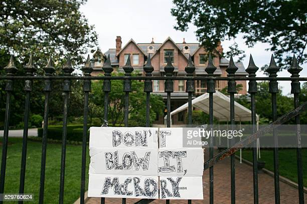 STATES MAY 9 A sign is taped to the gate outside of the Governor's Mansion in Raleigh NC on Monday May 9 2016 Gov Pat McCrory and his administration...