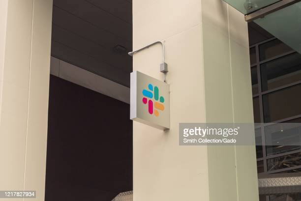 Sign is visible on facade at headquarters of business message software company Slack in San Francisco, California, April 8, 2020.