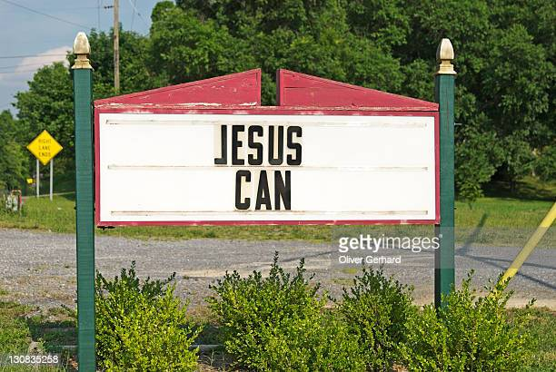 sign jesus can, west virginia, usa. - fundamentalism stock photos and pictures
