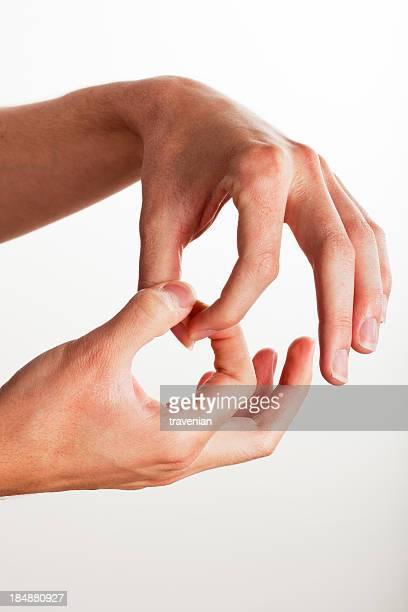 sign language hand gesture for join - gebaren stockfoto's en -beelden