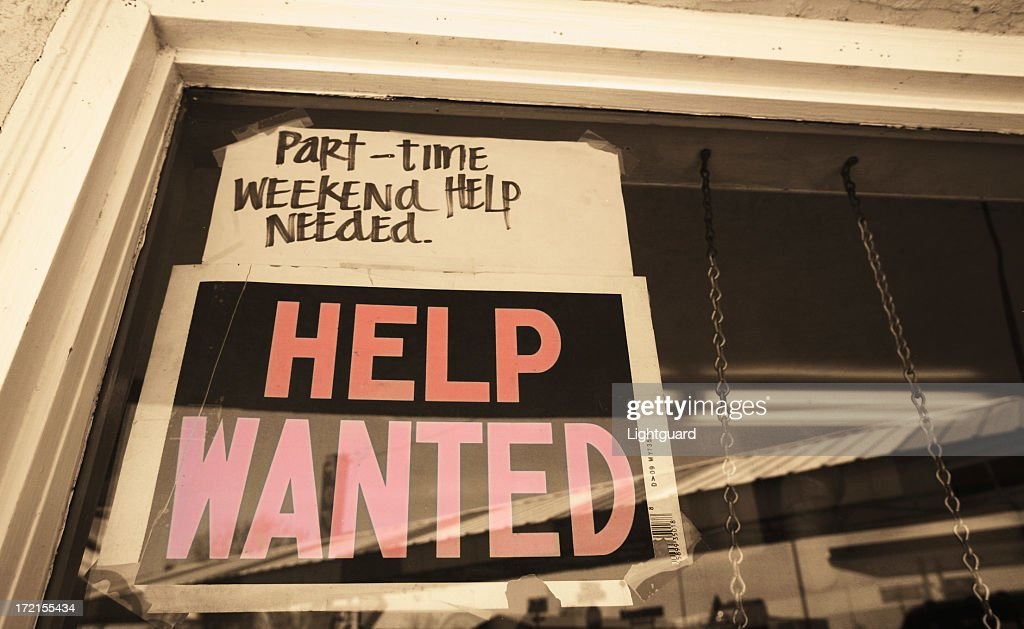 A sign looking for part time, weekend help needed : Stock Photo