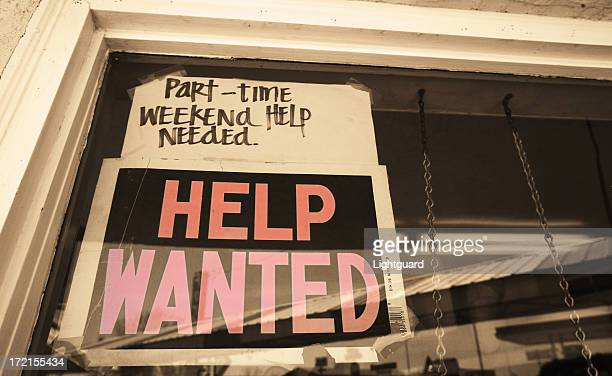 a sign looking for part time, weekend help needed - part time job stock pictures, royalty-free photos & images