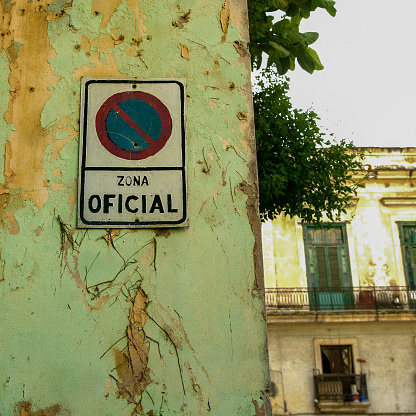 Sign Marking Official State Property in Havana, Cuba - gettyimageskorea