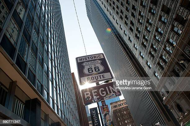 Sign marking the beginning of Historic Route 66 in Chicago, Illinois, USA