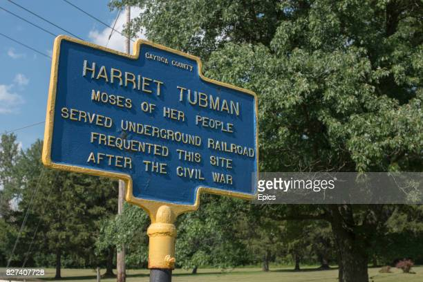 A sign marking the historic spot where American abolitionist and humanitarian Harriet Tubman lived served and frequented in Auburn New York the site...