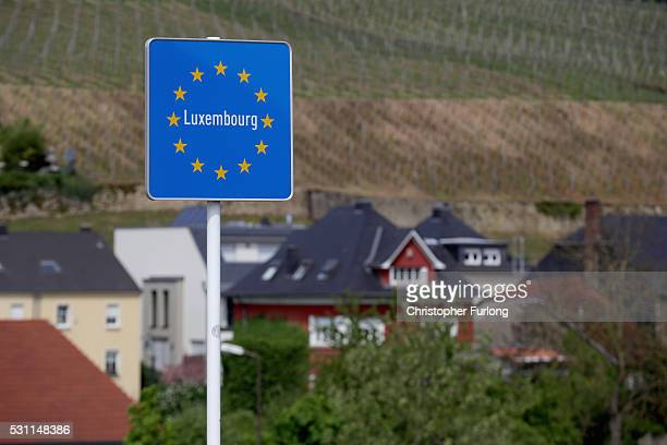 A sign marking the the Luxembourg border in the town of Schengen where the 1985 European Schengen Agreement was signed on May 11 2016 in Schengen...