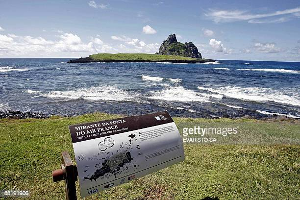 A sign marks Air France's promontory at Fernando de Noronha Island in northeastern Brazil where the French used to have a radio base to support...