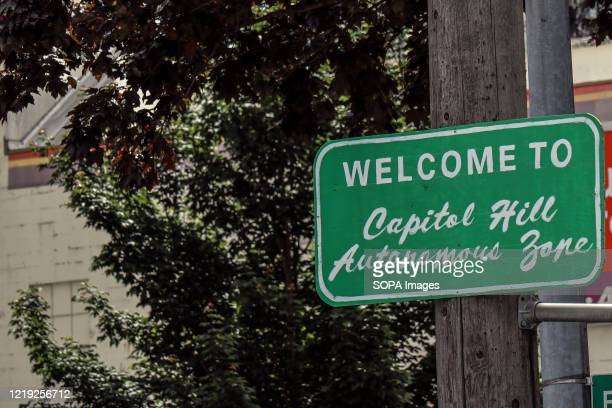A sign marks the edge of the socalled Capitol Hill Autonomous Zone in Seattle Protesters declared a Cop Free Zone near where Seattle police boarded...