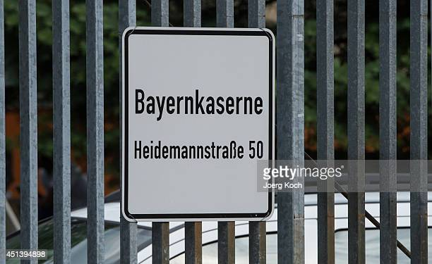 A sign marks the entrance to a former military barracks called Bayernkaserne that is being used to house refugees on June 28 2014 in Munich Germany...