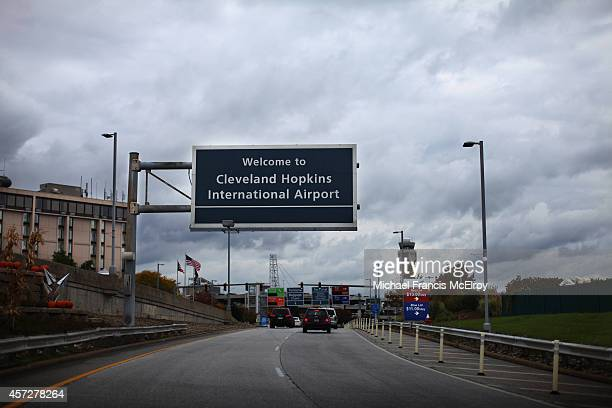 A sign marks the entrance to Cleveland Hopkins Airport on October 15 2014 in Cleveland Ohio Recently diagnosed Ebola patient health care worker Amber...