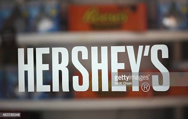 A sign marks the entrance to the Hershey's Chocolate World store on July 16 2014 in Chicago Illinois The store located along the Magnificent Mile...