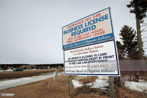 A sign marks the line of the Red Lake Reservation March 22 2005 in Red Lake Minnesota High school student Jeff Weise shot and killed ten people March...