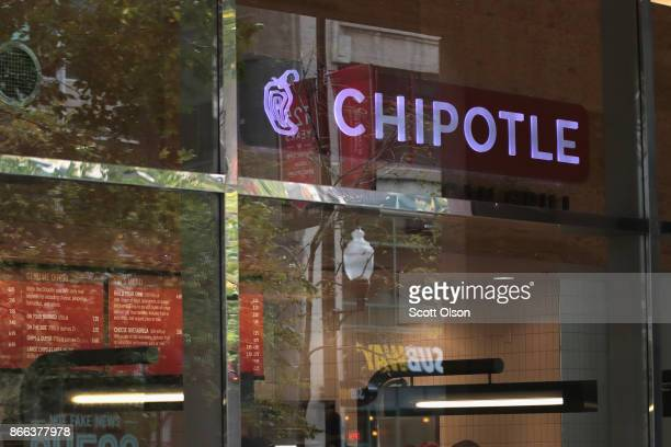 A sign marks the location of a Chipotle restaurant on October 25 2017 in Chicago Illinois Chipotle stock fell more than 14 percent today after a weak...