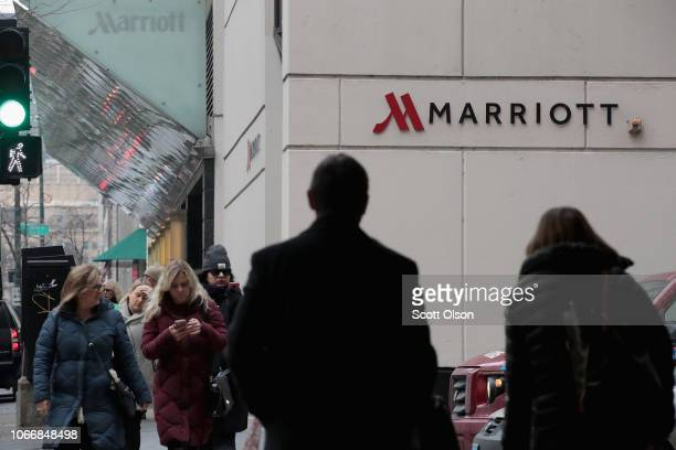 A sign marks the location of a Marriott hotel on November 30 2018 in Chicago Illinois Marriott says their Starwood guest reservation database was...