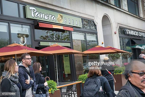 A sign marks the location of a Panera Bread restaurant on May 5 2015 in Chicago Illinois The company said today it has eliminated or intends to...