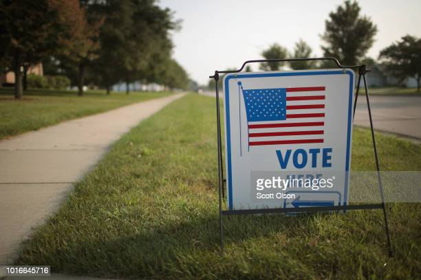 A sign marks the location of a polling place on August 14 2018 in Janesville Wisconsin Wisconsin voters cast ballots in primary races today to pick...