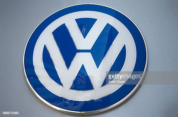 A sign marks the location of a Volkswagen dealership on September 22 2015 in Chicago Illinois The Environmental Protection Agency has accused...