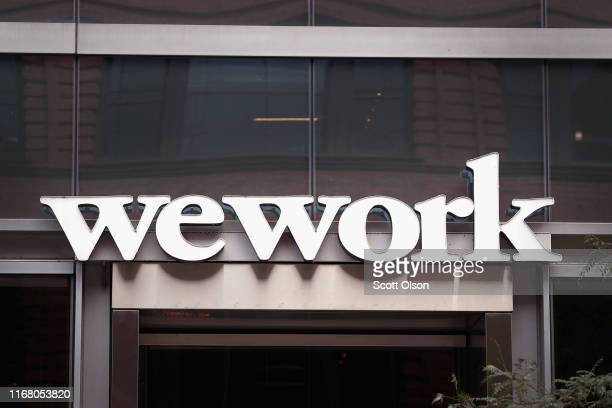 Sign marks the location of a WeWork office facility on August 14, 2019 in Chicago, Illinois. WeWork, a real estate firm that leases shared office...