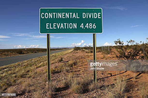 A sign marks the point where the Continental Divide stretches into southern Arizona on September 30 2016 near White Place New Mexico Border Patrol...