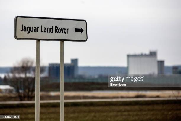 A sign marks the route to the construction site for the new Jaguar Land Rover Plc electric vehicle plant in Nitra Slovakia on Monday Jan 15 2018...