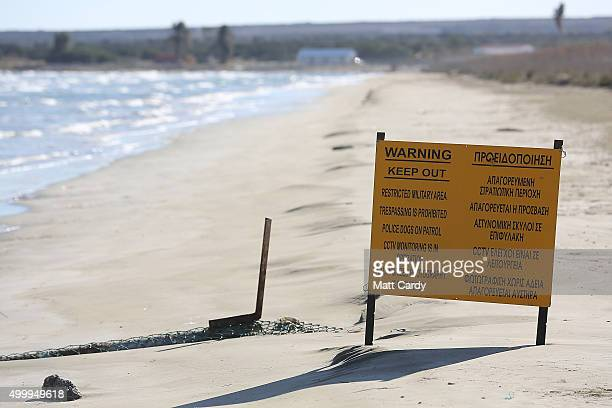 A sign marks the start of the RAF territory at Akrotiri on December 4 2015 in Akrotiri Cyprus Yesterday the RAF sent two further Tornado aircraft and...