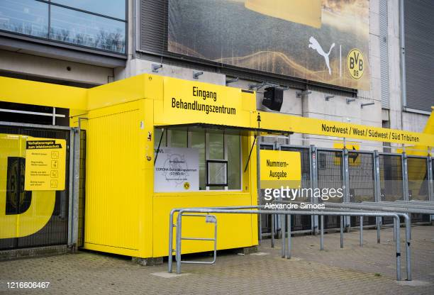 Sign marks the way to a coronavirus care facility at the north stand at Signal Iduna Park on April 3, 2020 in Dortmund, Germany. Bundesliga club...