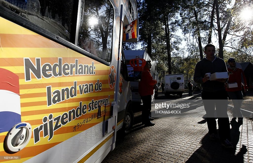 A sign meaning 'Netherlands: the country of rising stars' is displayed on a Netherlands national football team supporter's motorhome before driving it in a convoy of 140 'orange' vehicles from their Fountainvalley camp, in northern Johannesburg on June 16, 2010. Around 700 Dutch fans will move from Johannesburg to Durban, the city where their team will play their second 2010 World Cup football match against Japan.