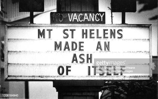 Sign near near Mount St. Helens after the volcano erupted, June 15, 1980 Photo ran , P. 11