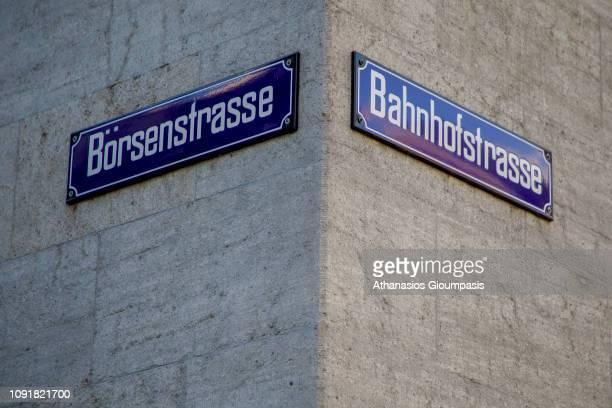 Sign of Bahnhofstrasse on January 03 2019 in Zurich Switzerland Bahnhofstrasse is a main downtown street and one of the world's most expensive and...
