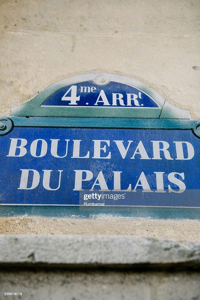 Sign of Boulevard Du Palais, Paris, France : Stock Photo