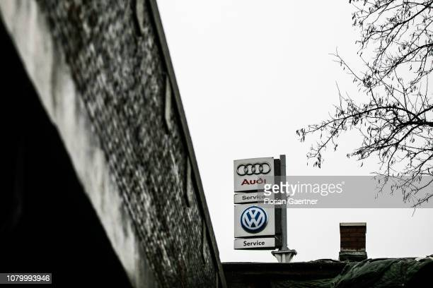 A sign of car service for Audi and VW is pictured on January 09 2019 in Berlin Germany