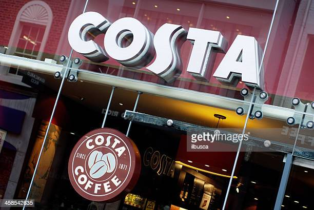 Sign of Costa Coffee café in Liverpool