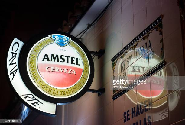 A sign of Dutch beer brand owned by Heineken International Amstel Brewery seen in Spain