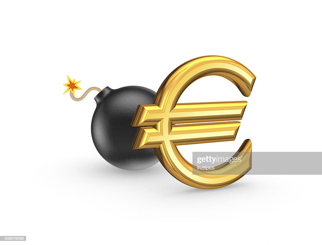 Sign of euro and black bomb. : Stock Photo