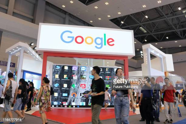 A sign of Google at the Smart China Expo in southwest China's Chongqing Municipality Tuesday Aug 27 2019 PHOTOGRAPH BY Feature China / Barcroft Media