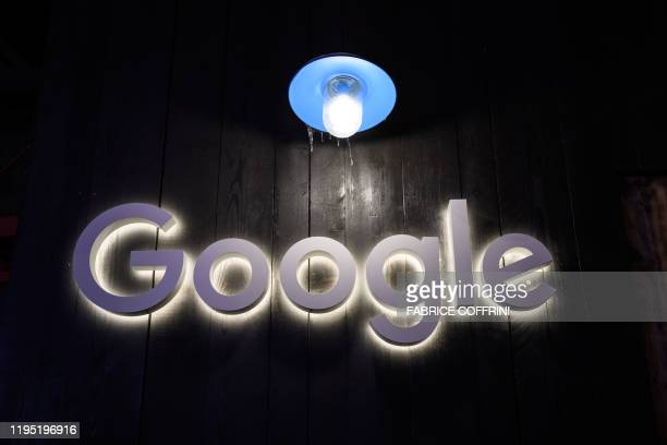 A sign of Google is seen at Google's stand during the annual meeting of the World Economic Forum in Davos on January 21 2020
