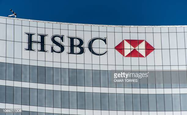 A sign of HSBC is seen on a building in Mexico City on December 3 2018