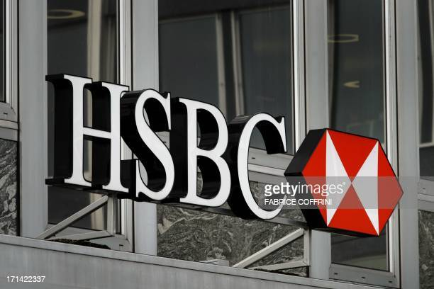 A sign of HSBC private bank is seen on June 14 2013 in the center of Geneva AFP PHOTO / FABRICE COFFRINI