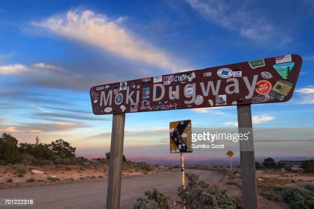 Sign of Moki Dugway on Highway 216, Utah