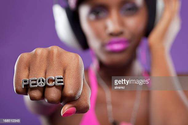sign of peace - all hip hop models stock photos and pictures