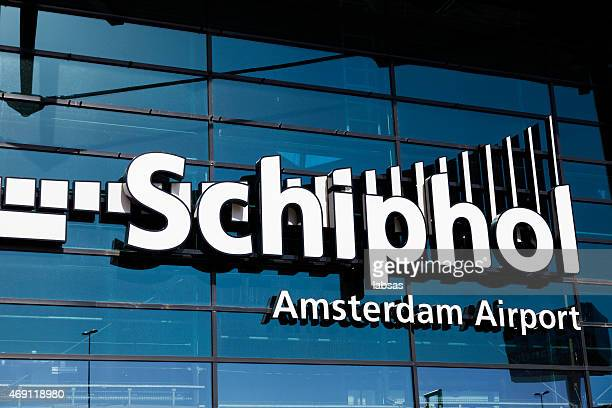sign of schiphol airport, amsterdam, the netherlands - schiphol airport stock photos and pictures