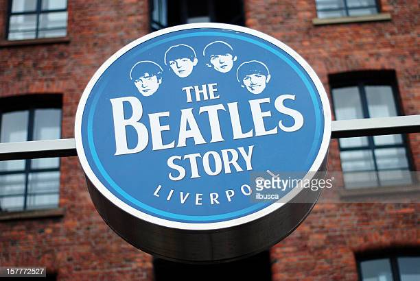 Sign of The Beatles Story museum in Liverpool Albert Dock