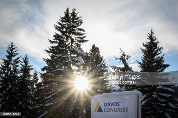 A sign of the Congress Centre is pictured on January 20 2019 in Davos eastern Switzerland ahead of the opening of the World Economic Forum annual...